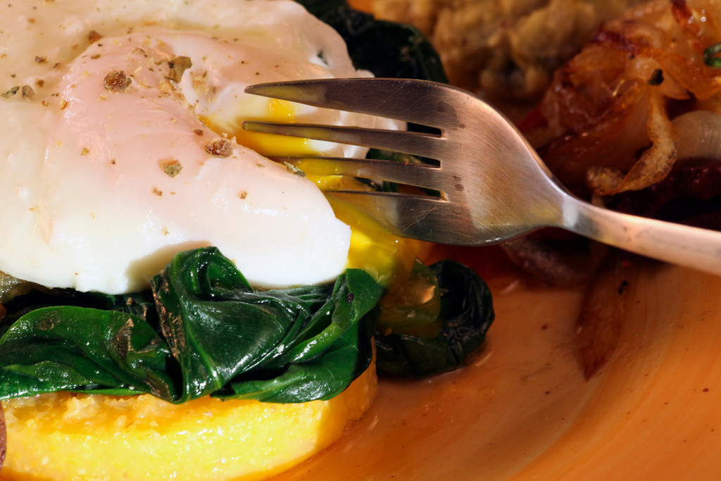 Eggs Nested In Sauteed Chard And Mushrooms Recipe — Dishmaps